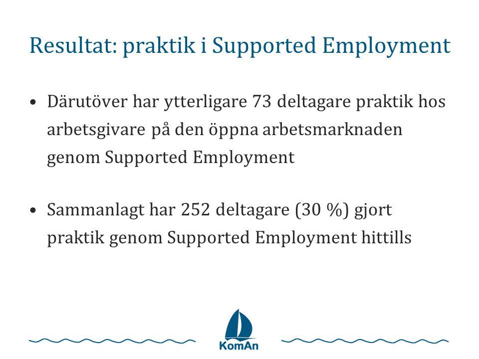 Resultat: praktik i Supported Employment
