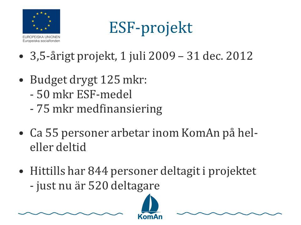 ESF-projekt 3,5-årigt projekt, 1 juli 2009 – 31 dec. 2012