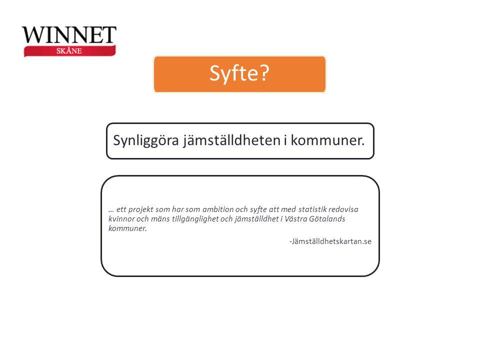 Syfte Synliggöra jämställdheten i kommuner.