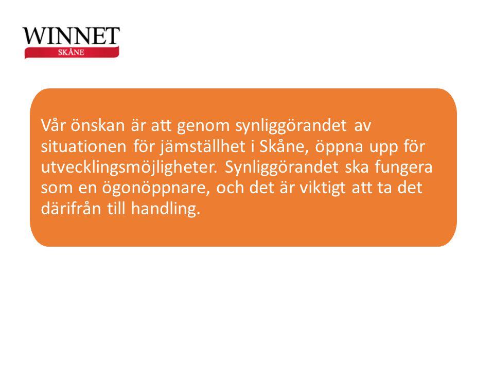 Vår önskan är att genom synliggörandet av situationen för jämställhet i Skåne, öppna upp för utvecklingsmöjligheter.
