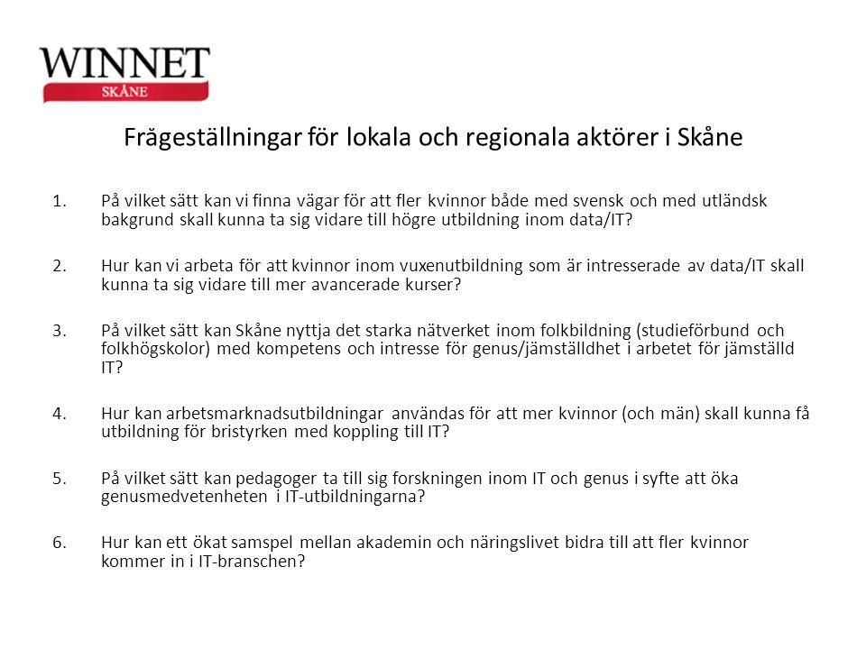 Frågeställningar för lokala och regionala aktörer i Skåne