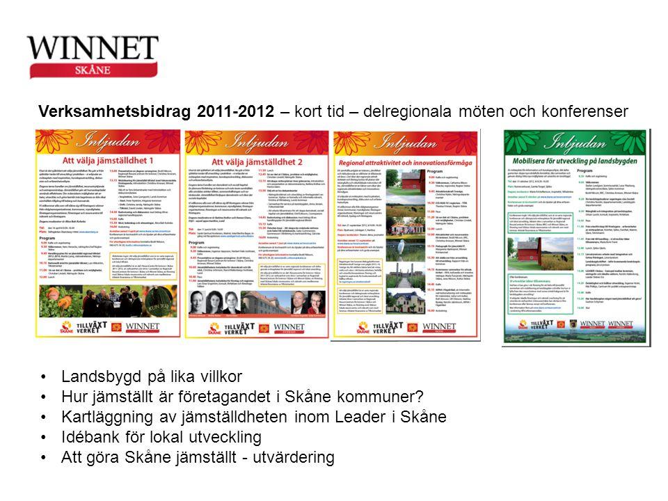 Verksamhetsbidrag 2011-2012 – kort tid – delregionala möten och konferenser