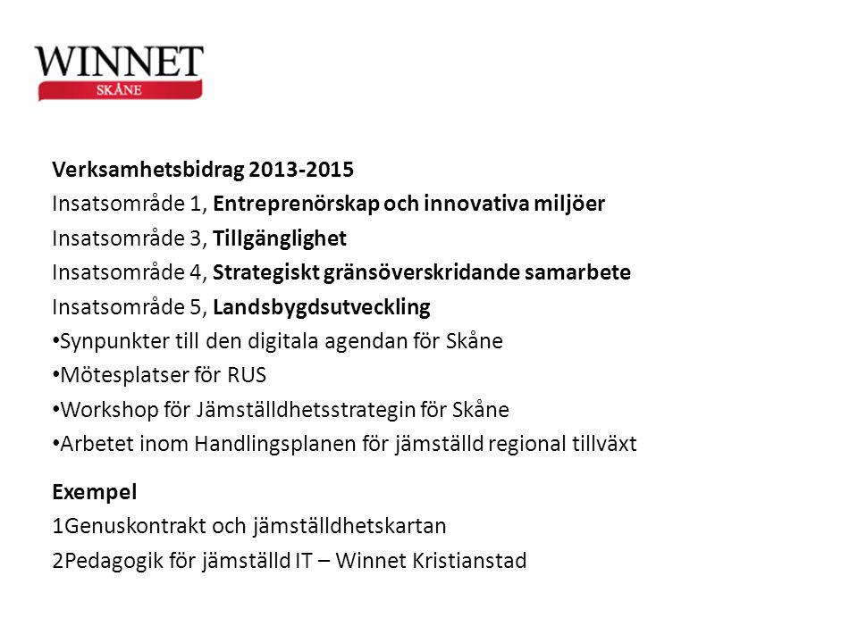 Verksamhetsbidrag 2013-2015 Insatsområde 1, Entreprenörskap och innovativa miljöer. Insatsområde 3, Tillgänglighet.