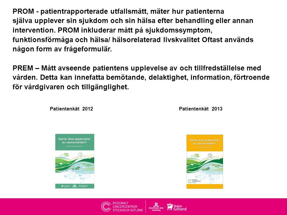 PROM – PREM – Patientenkät PROM - patientrapporterade utfallsmått, mäter hur patienterna själva upplever sin sjukdom och sin hälsa efter behandling eller annan intervention.
