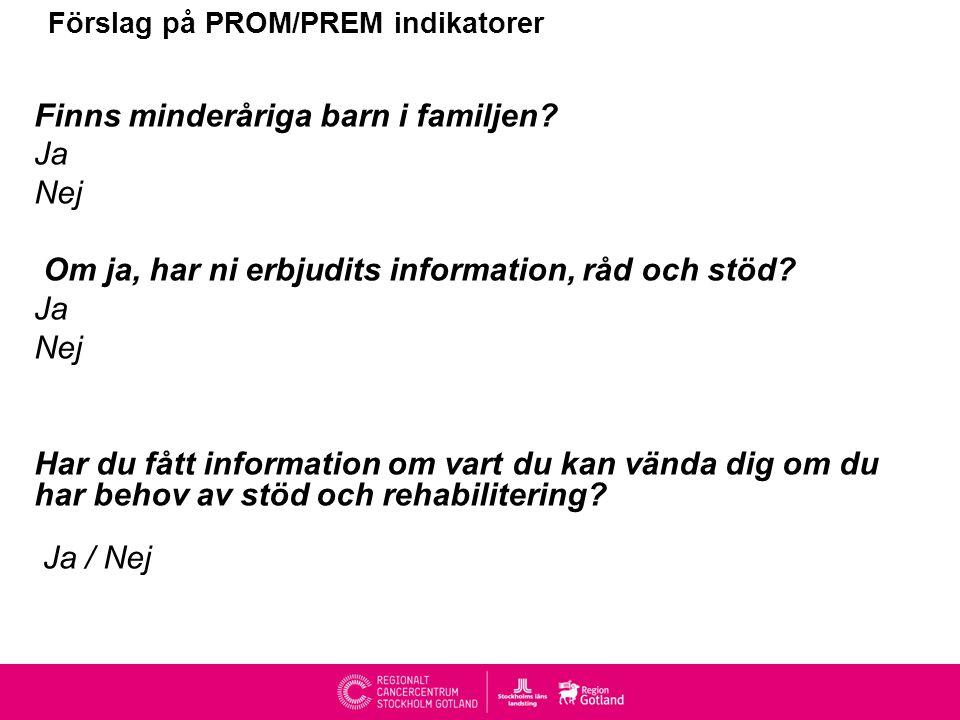 Förslag på PROM/PREM indikatorer