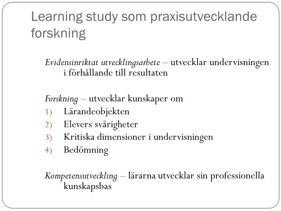 Learning study som praxisutvecklande forskning