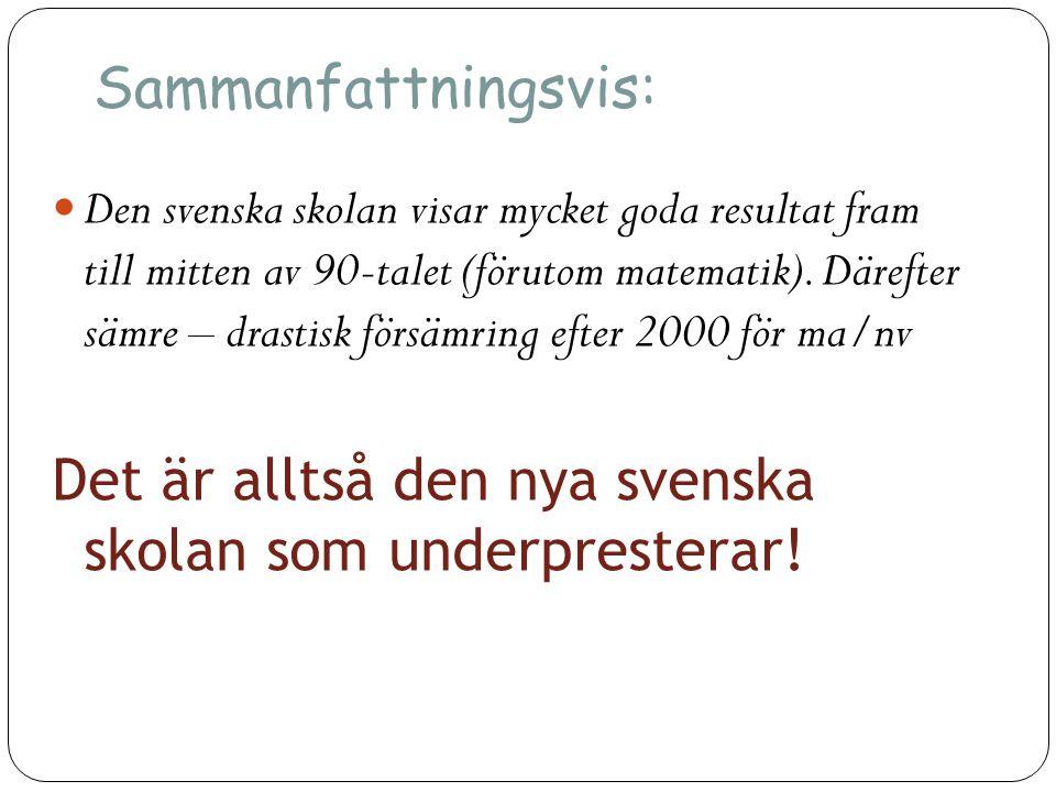 Det är alltså den nya svenska skolan som underpresterar!