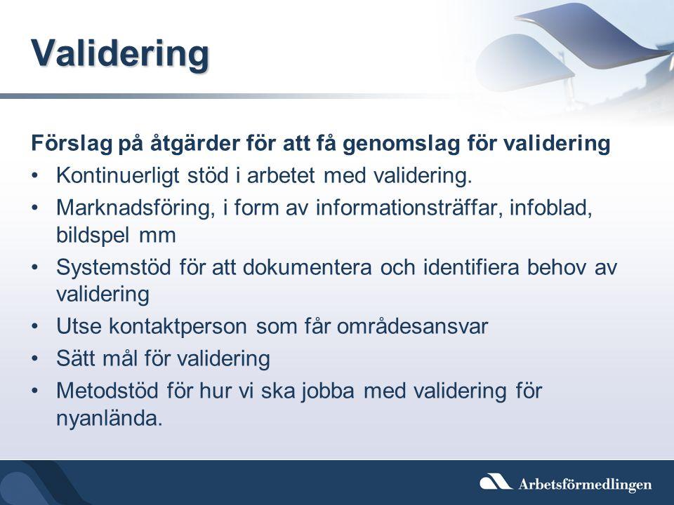 Validering Förslag på åtgärder för att få genomslag för validering