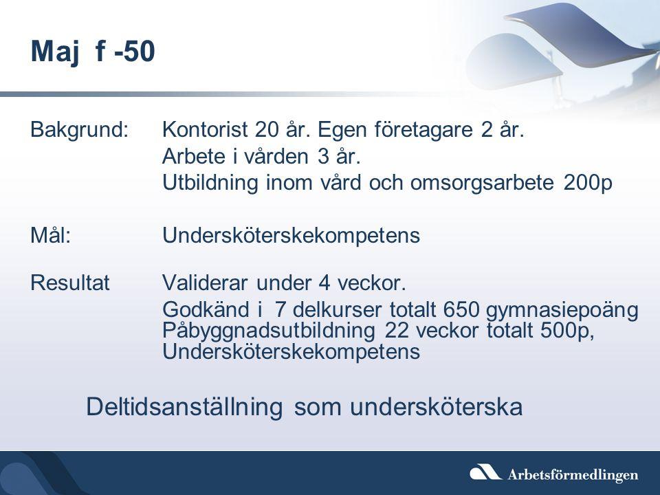 Maj f -50 Bakgrund: Kontorist 20 år. Egen företagare 2 år.