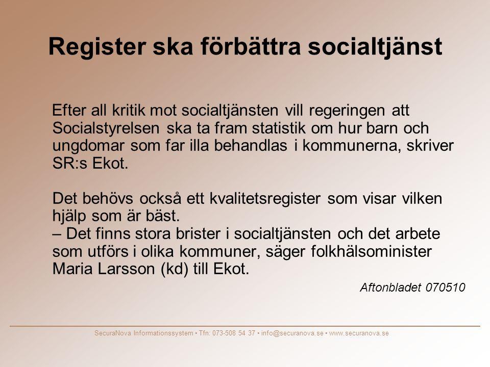 Register ska förbättra socialtjänst