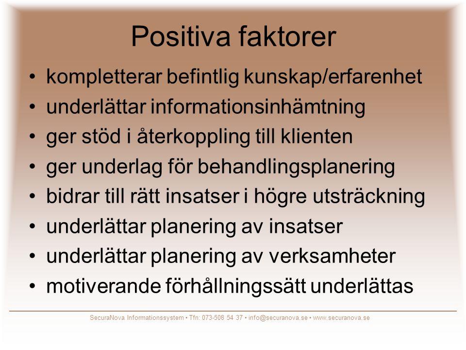 Positiva faktorer kompletterar befintlig kunskap/erfarenhet
