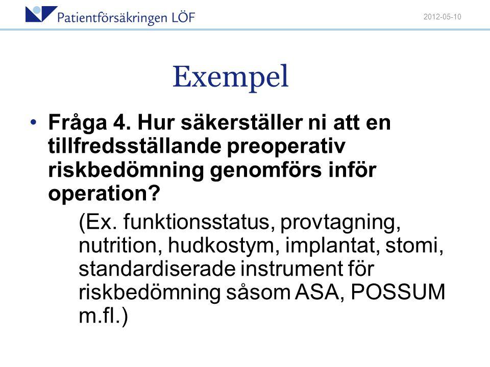 2012-05-10 Exempel. Fråga 4. Hur säkerställer ni att en tillfredsställande preoperativ riskbedömning genomförs inför operation