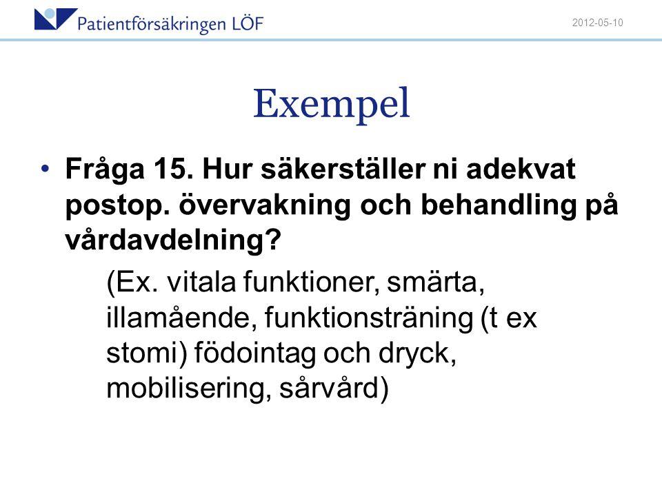 2012-05-10 Exempel. Fråga 15. Hur säkerställer ni adekvat postop. övervakning och behandling på vårdavdelning