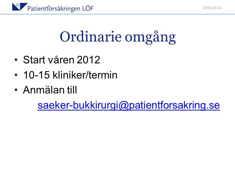 Ordinarie omgång Start våren 2012 10-15 kliniker/termin Anmälan till