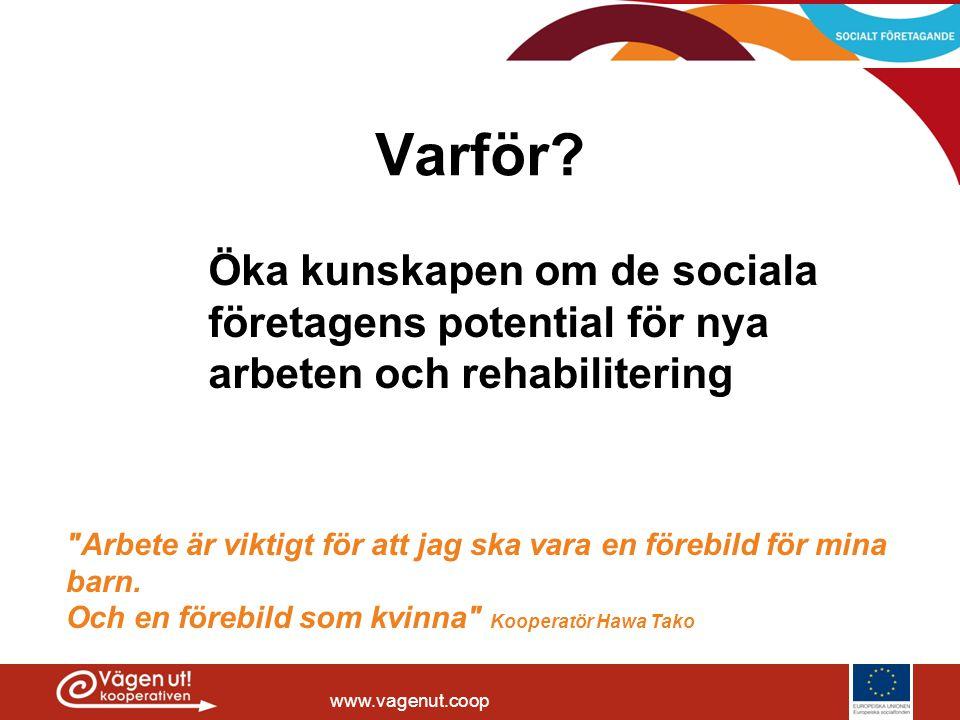 Varför Öka kunskapen om de sociala företagens potential för nya arbeten och rehabilitering.