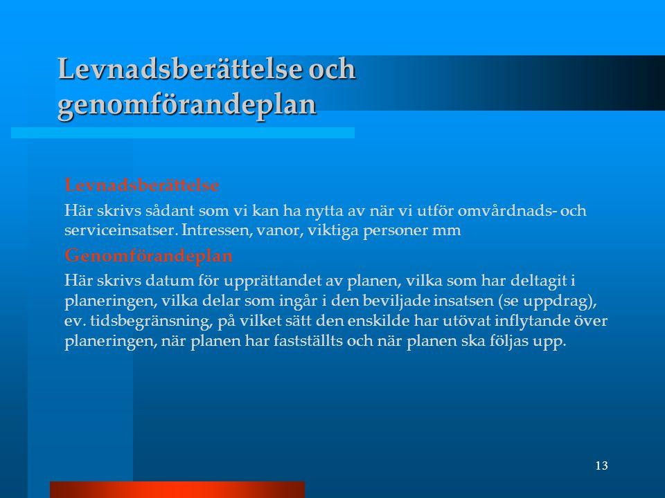 Levnadsberättelse och genomförandeplan
