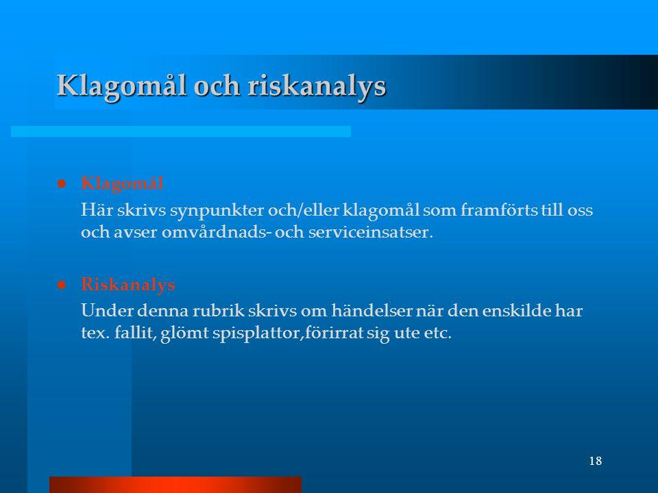 Klagomål och riskanalys