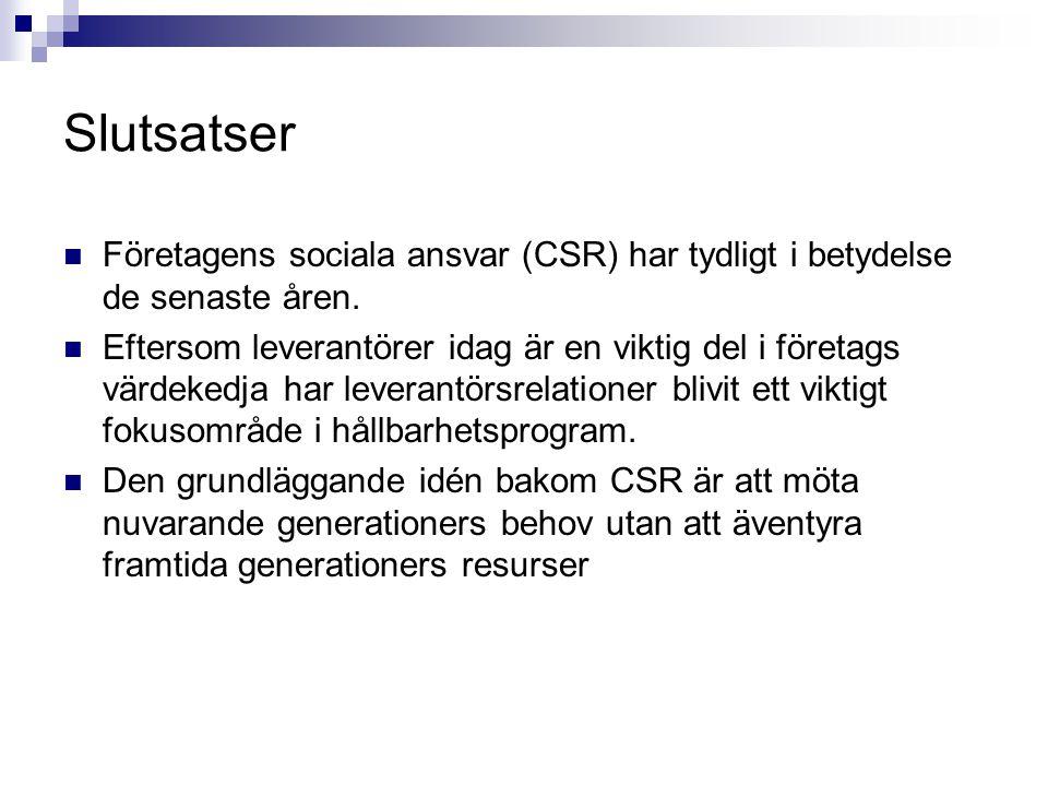 Slutsatser Företagens sociala ansvar (CSR) har tydligt i betydelse de senaste åren.
