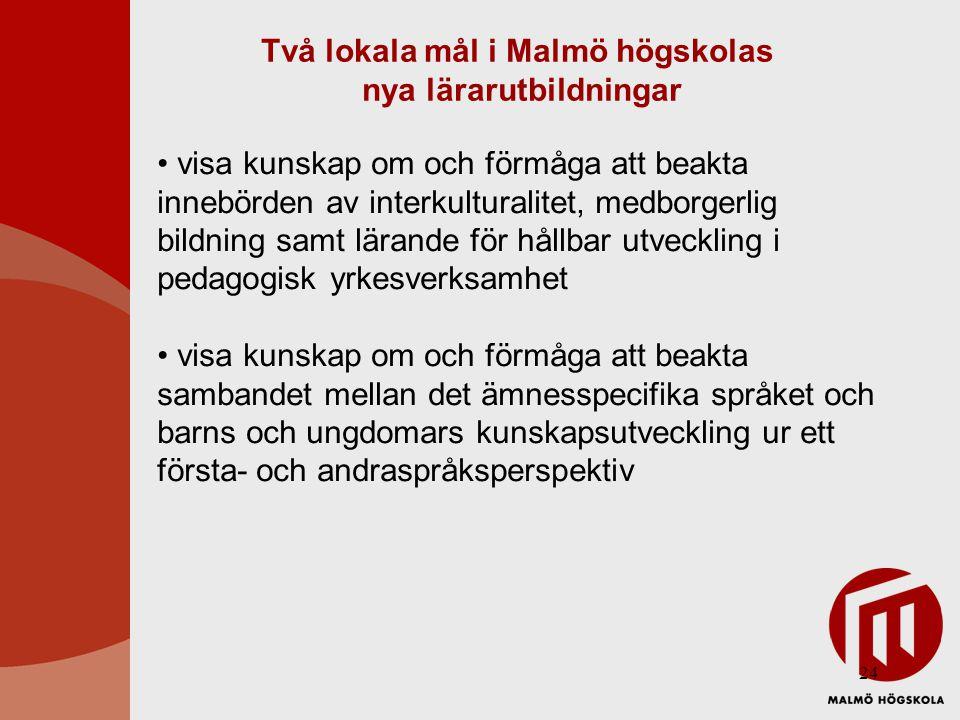 Två lokala mål i Malmö högskolas nya lärarutbildningar