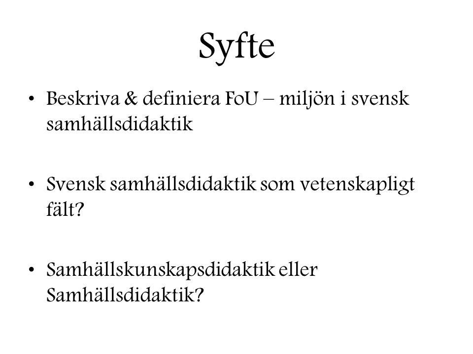 Syfte Beskriva & definiera FoU – miljön i svensk samhällsdidaktik