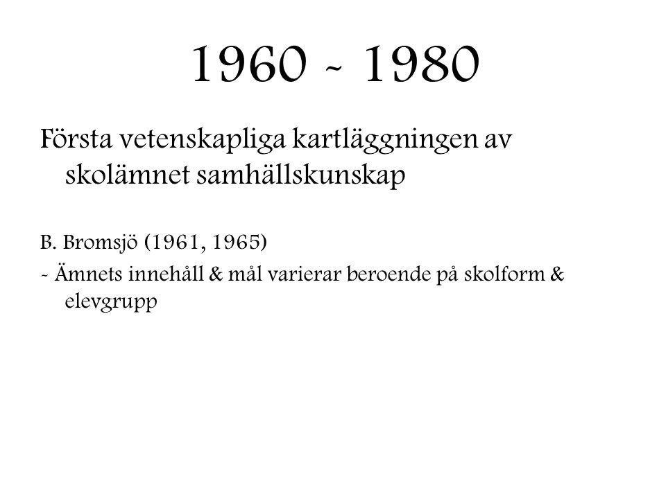 1960 - 1980 Första vetenskapliga kartläggningen av skolämnet samhällskunskap. B. Bromsjö (1961, 1965)