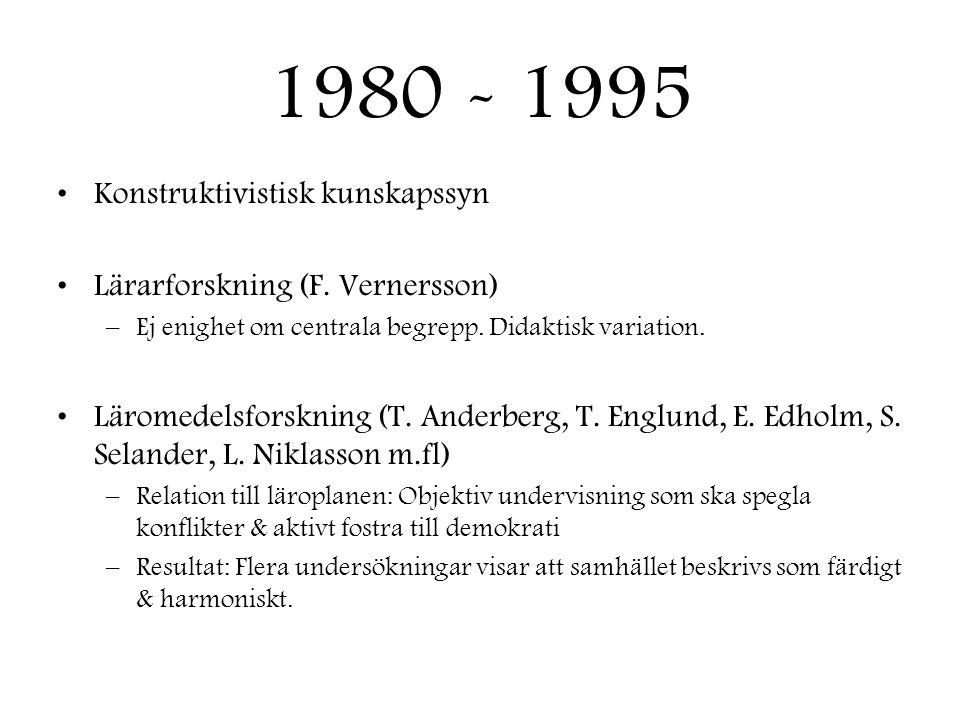 1980 - 1995 Konstruktivistisk kunskapssyn