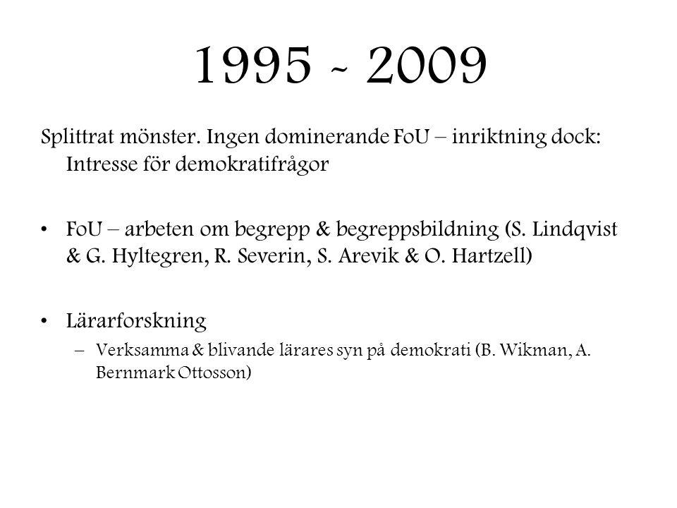 1995 - 2009 Splittrat mönster. Ingen dominerande FoU – inriktning dock: Intresse för demokratifrågor.