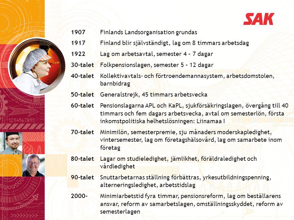 1907 Finlands Landsorganisation grundas 1917 Finland blir självständigt, lag om 8 timmars arbetsdag 1922 Lag om arbetsavtal, semester 4 – 7 dagar 30-talet Folkpensionslagen, semester 5 – 12 dagar 40-talet Kollektivavtals- och förtroendemannasystem, arbetsdomstolen, barnbidrag 50-talet Generalstrejk, 45 timmars arbetsvecka 60-talet Pensionslagarna APL och KaPL, sjukförsäkringslagen, övergång till 40 timmars och fem dagars arbetsvecka, avtal om semesterlön, första inkomstpolitiska helhetslösningen: Liinamaa I 70-talet Minimilön, semesterpremie, sju månaders moderskapledighet, vintersemester, lag om företagshälsovård, lag om samarbete inom företag 80-talet Lagar om studieledighet, jämlikhet, föräldraledighet och vårdledighet 90-talet Snuttarbetarnas ställning förbättras, yrkesutbildningspenning, alterneringsledighet, arbetstidslag 2000- Minimiarbetstid fyra timmar, pensionsreform, lag om beställarens ansvar, reform av samarbetslagen, omställningsskyddet, reform av semesterlagen