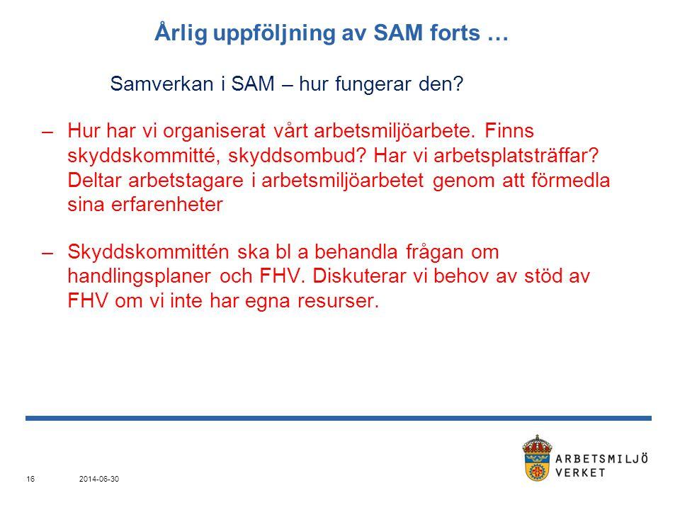 Årlig uppföljning av SAM forts …