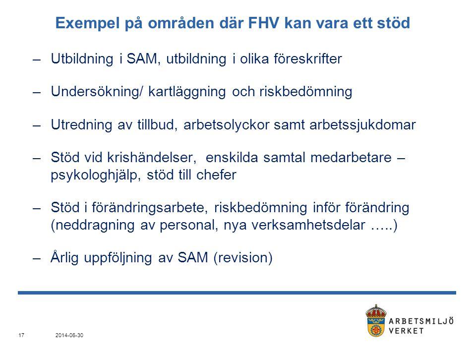 Exempel på områden där FHV kan vara ett stöd