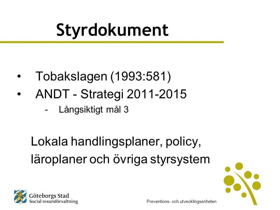 Styrdokument Tobakslagen (1993:581) ANDT - Strategi 2011-2015