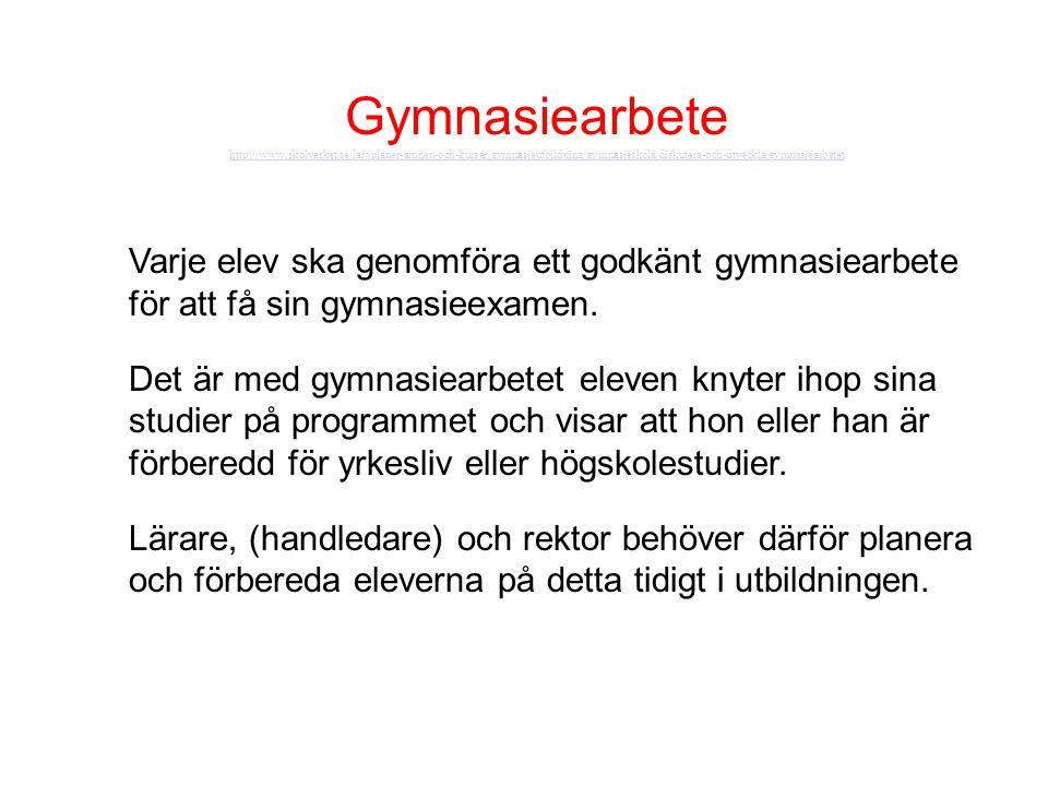 Gymnasiearbete http://www.skolverket.se/laroplaner-amnen-och-kurser/gymnasieutbildning/gymnasieskola/diskutera-och-utveckla/gymnasiearbetet.