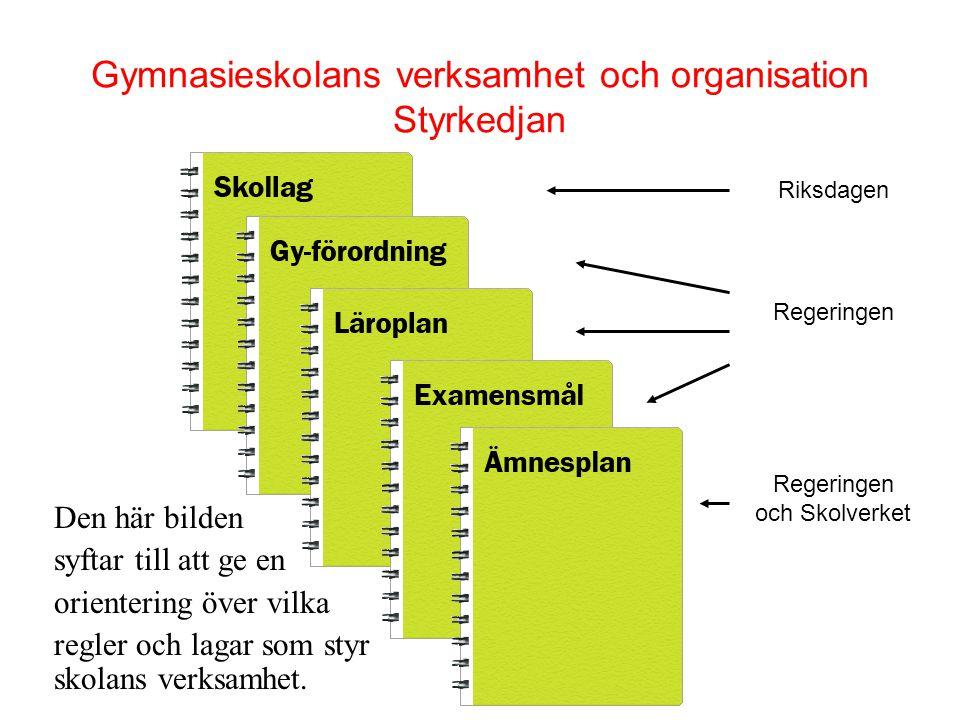 Gymnasieskolans verksamhet och organisation Styrkedjan