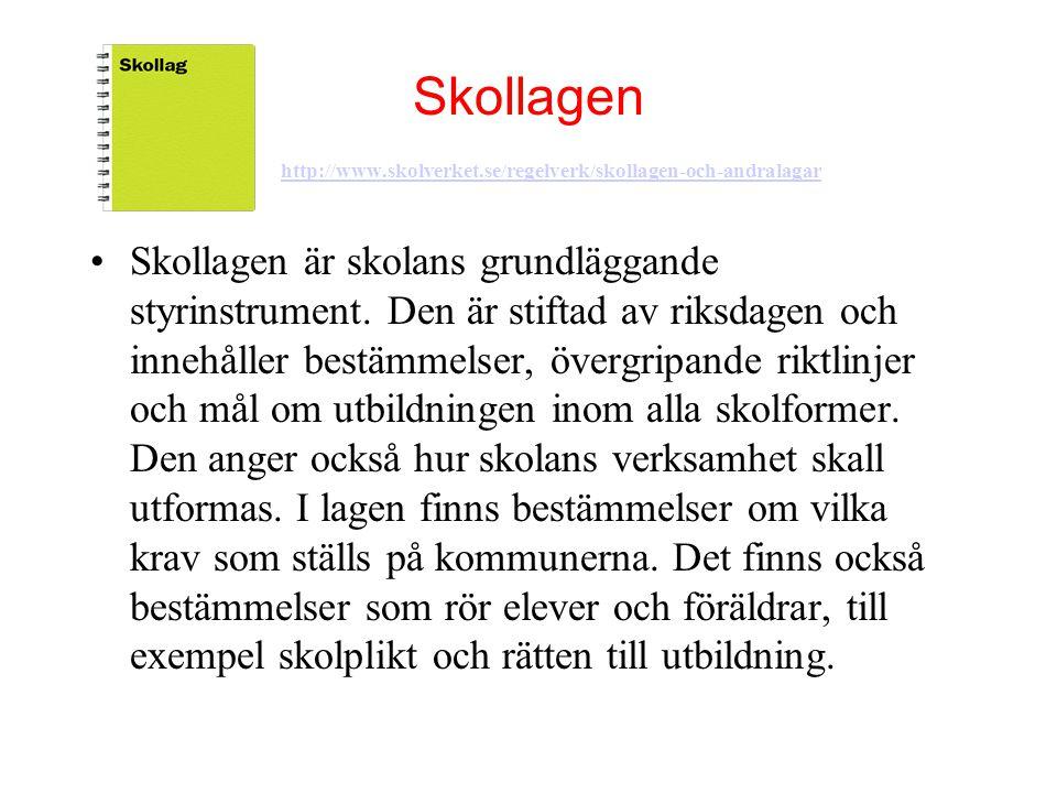 Skollagen http://www.skolverket.se/regelverk/skollagen-och-andralagar