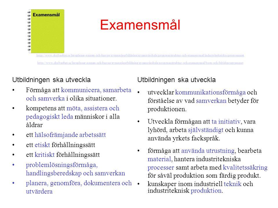 Examensmål http://www. skolverket