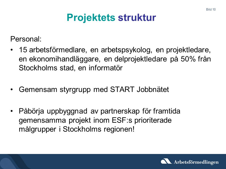 Projektets struktur Personal: