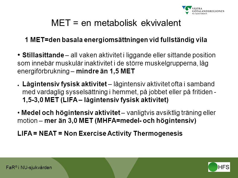 1 MET=den basala energiomsättningen vid fullständig vila