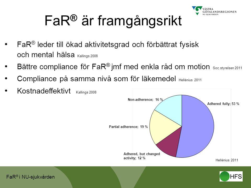 FaR® är framgångsrikt FaR® leder till ökad aktivitetsgrad och förbättrat fysisk och mental hälsa Kallings 2008.