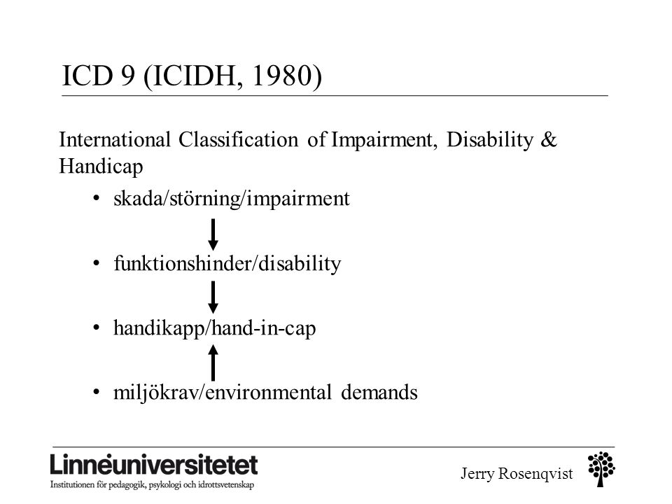 ICD 9 (ICIDH, 1980) International Classification of Impairment, Disability & Handicap. skada/störning/impairment.