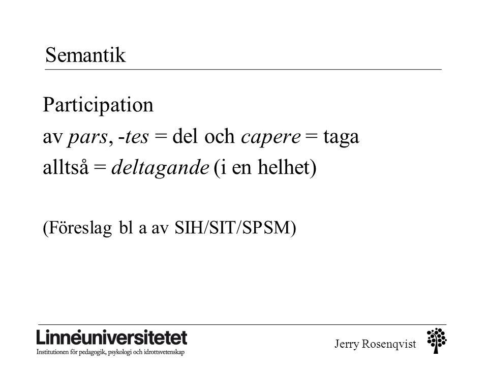 av pars, -tes = del och capere = taga