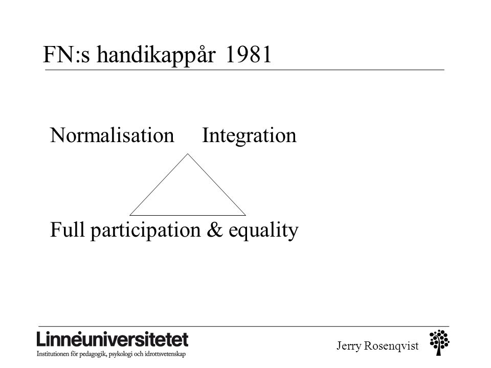 FN:s handikappår 1981 Normalisation Integration Full participation & equality