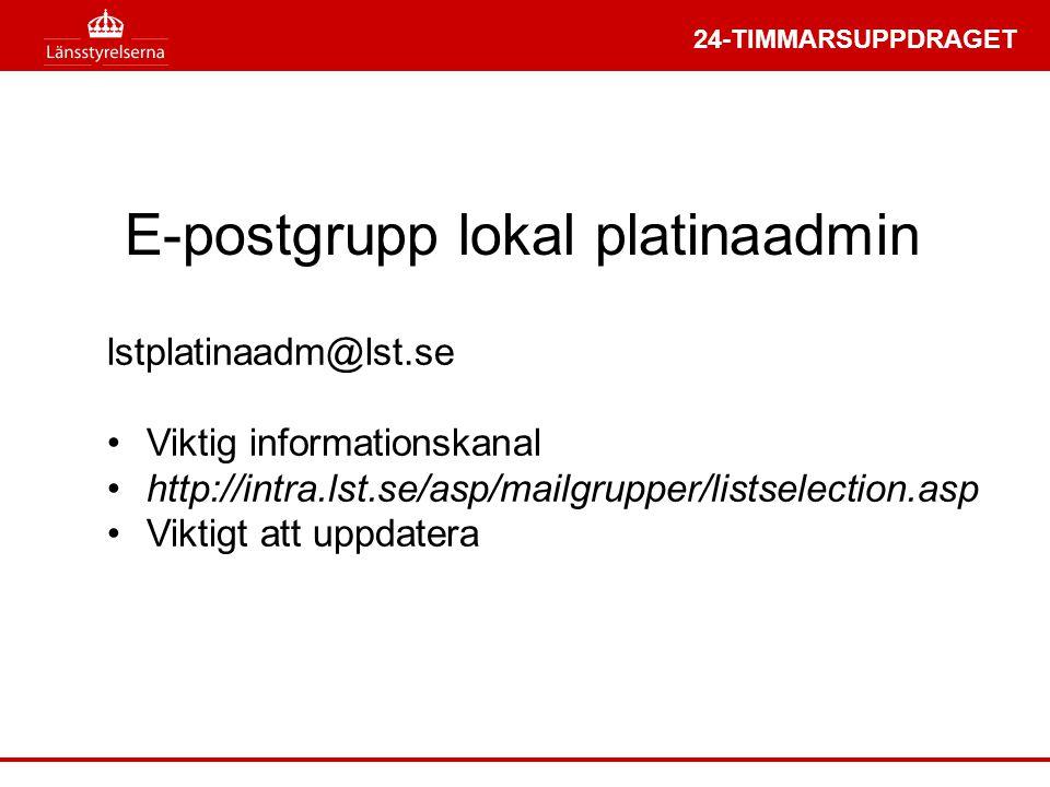 E-postgrupp lokal platinaadmin
