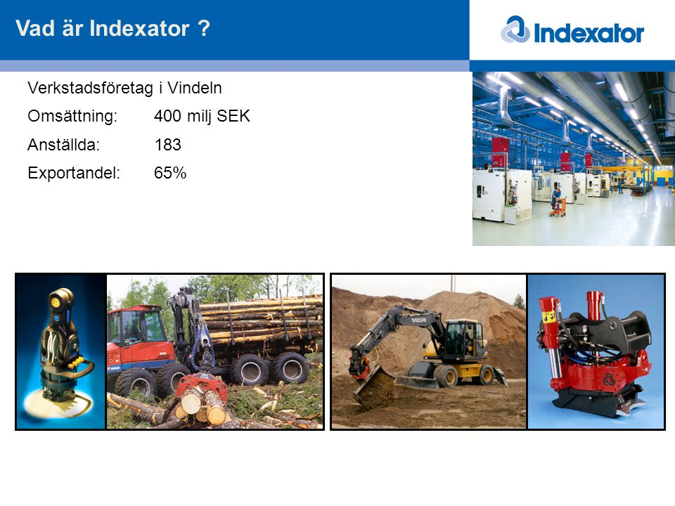 Vad är Indexator Verkstadsföretag i Vindeln Omsättning: 400 milj SEK