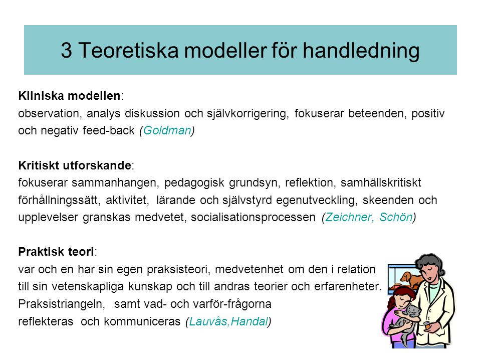 3 Teoretiska modeller för handledning
