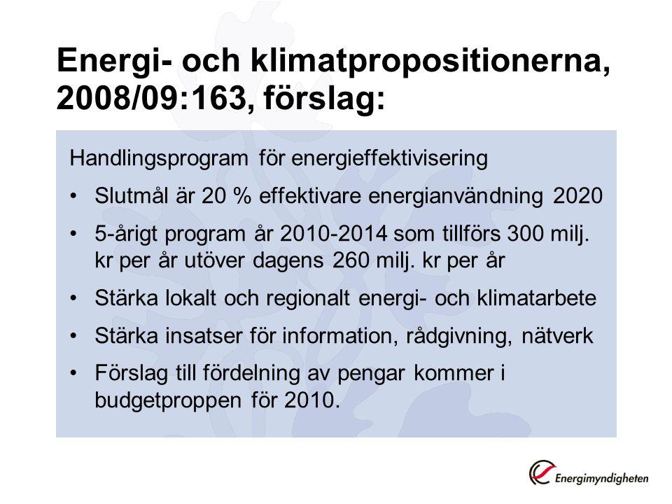 Energi- och klimatpropositionerna, 2008/09:163, förslag: