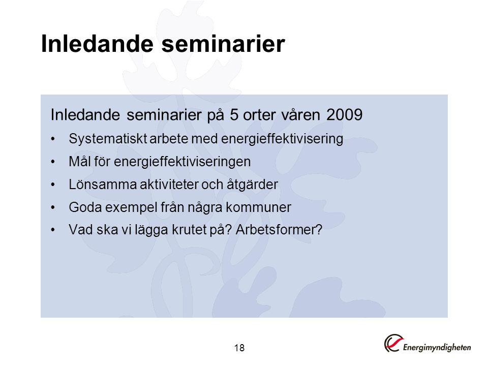 Inledande seminarier Inledande seminarier på 5 orter våren 2009