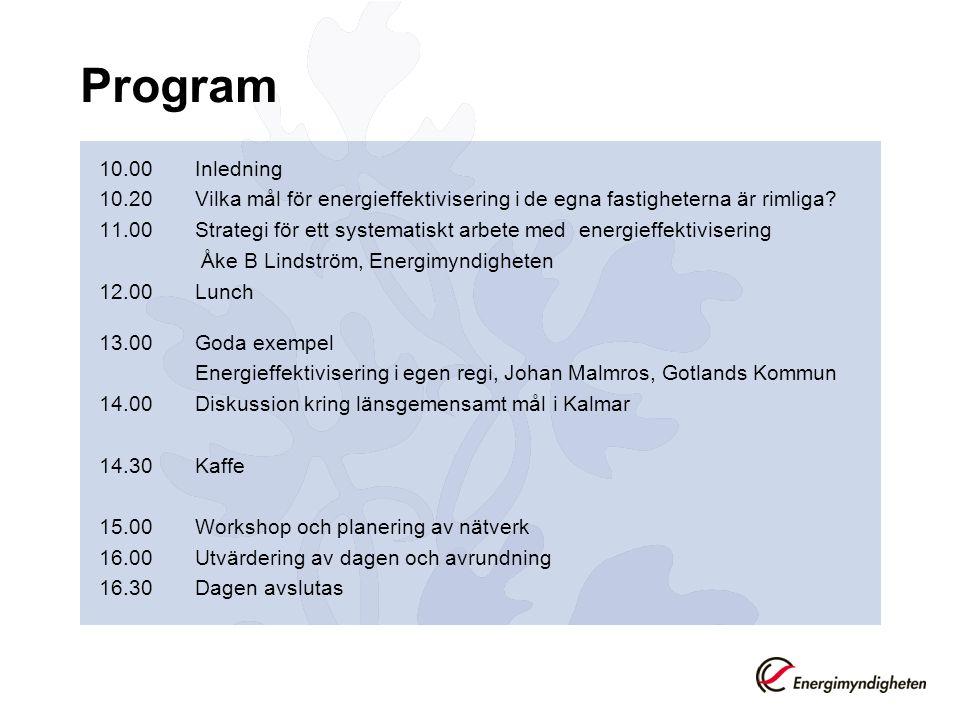 Program 10.00 Inledning. 10.20 Vilka mål för energieffektivisering i de egna fastigheterna är rimliga