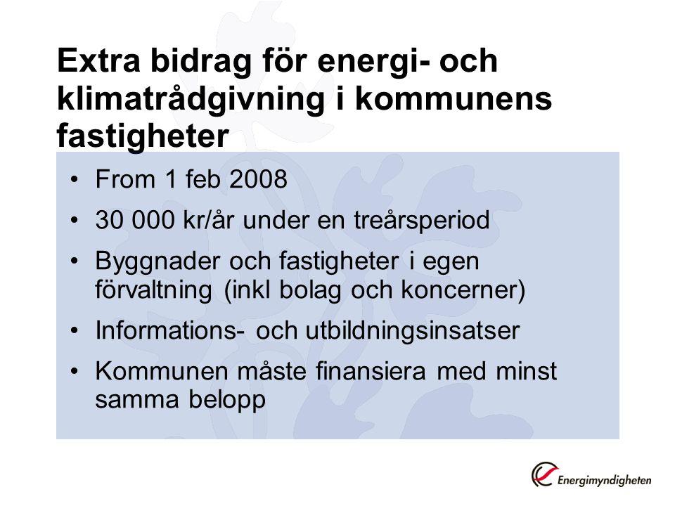 Extra bidrag för energi- och klimatrådgivning i kommunens fastigheter