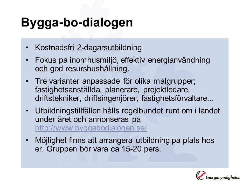 Bygga-bo-dialogen Kostnadsfri 2-dagarsutbildning