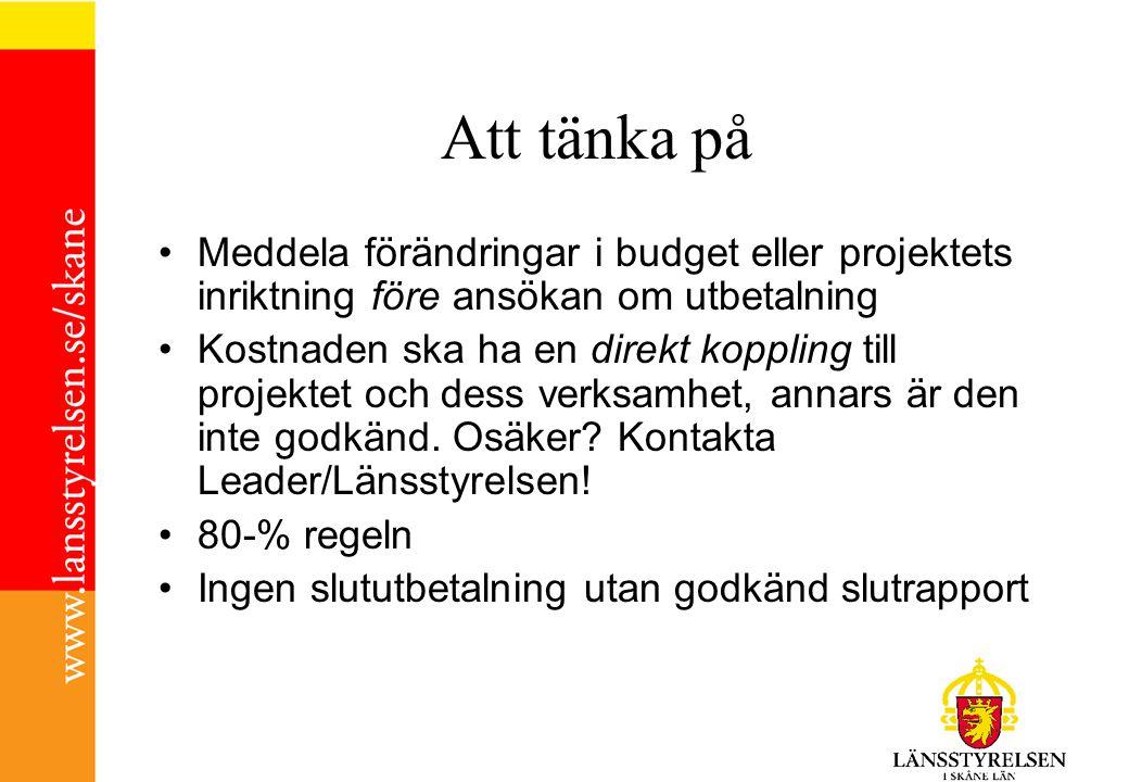 Att tänka på Meddela förändringar i budget eller projektets inriktning före ansökan om utbetalning.